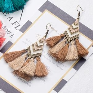 Tan Boho Tassel Fringe Statement Earrings